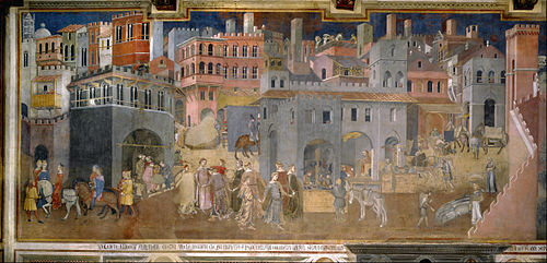 Ambrogio lorenzetti   effects of good government in the city   google art project