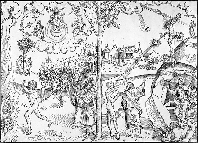 640px cranach law and grace woodcut